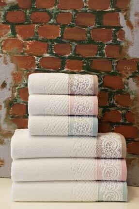 Özdilek Evony 6'lı Banyo Havlu Seti - Mint Pudra Bej