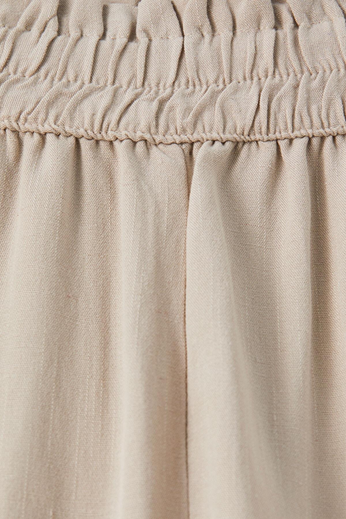 Pull & Bear Kadın Kum Rengi Elastik Belli Keten Pantolon 05671307 2