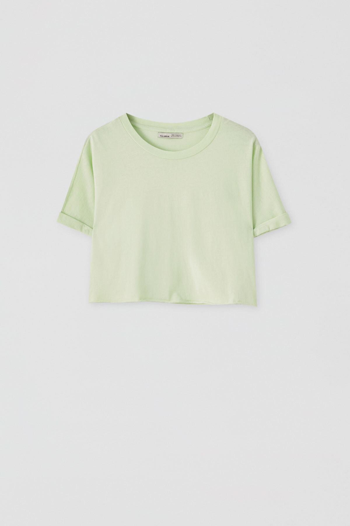 Pull & Bear Kadın Açık Limon Yeşili Kenarı Dikişsiz Crop Fit T-Shirt 05236327 1
