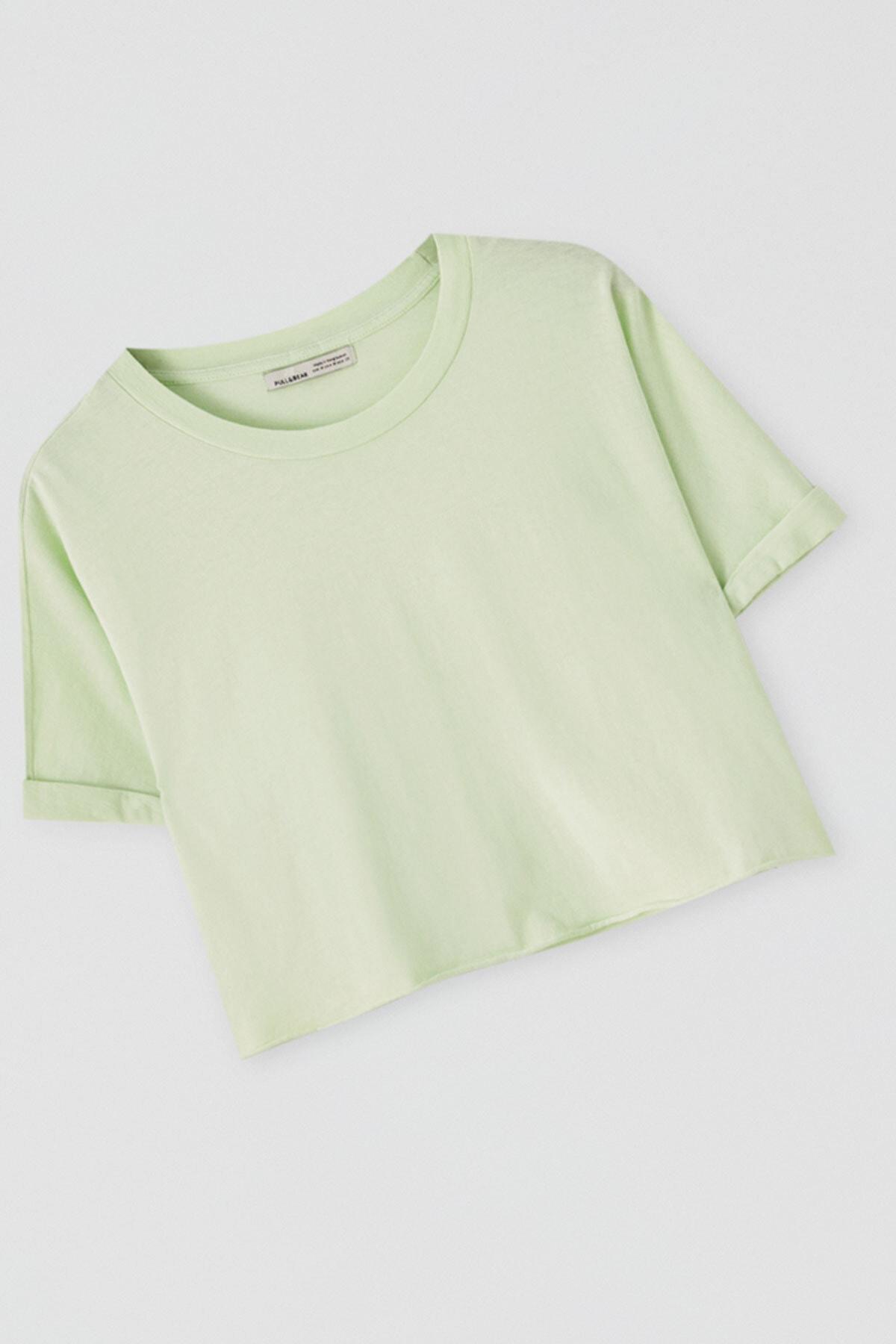 Pull & Bear Kadın Açık Limon Yeşili Kenarı Dikişsiz Crop Fit T-Shirt 05236327 2