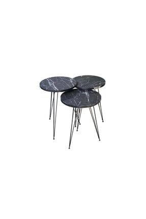 KZY Zigon Sehpa Metal Ayak 3lü Servis Sehpası Siyah Mermer Desen