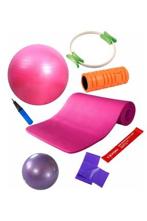 Povit 7'li  Pilates Seti 1 Cm  Fuşya Mat, 25 Cm Top, 65 CM Top, Bant , Çember , LoopBand , Roller