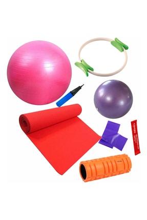 Povit 7'li  Pilates Seti 1 Cm Kırmızı Mat, 25 Cm Top, 65 CM Top, Bant , Çember , LoopBand , Roller