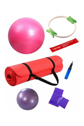 Povit 6'lı Pilates Seti 1 Cm Kırmızı Mat, 25 Cm Top, 65 CM Top, Bant , Çember , LoopBand
