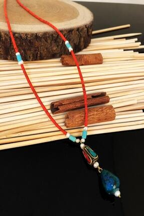 Dr. Stone Dr Stone Doğaltaş El Yapımı Inci , Turkuaz Ve Lapis Lazuli Taşı Nepal Kadın Kolye Ktdr52