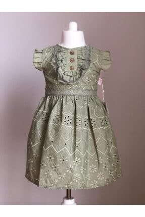 Buse&Eylül Bebe Kız Çocuk Haki Fisto Kumaş Düğme Detaylı  Elbisesi
