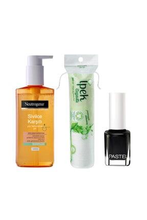 Neutrogena Sivilce Karşıtı Yüz Temizleme Jeli 200 ml + İpek Organik Makyaj Pamuğu + Pastel Oje Siyah 038
