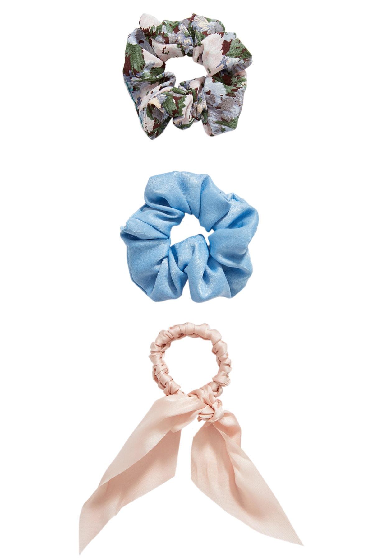 Stradivarius Kadın Açık Mavi 3'Lü Çiçek Desenli Saç Lastiği Paketi 00239009 1