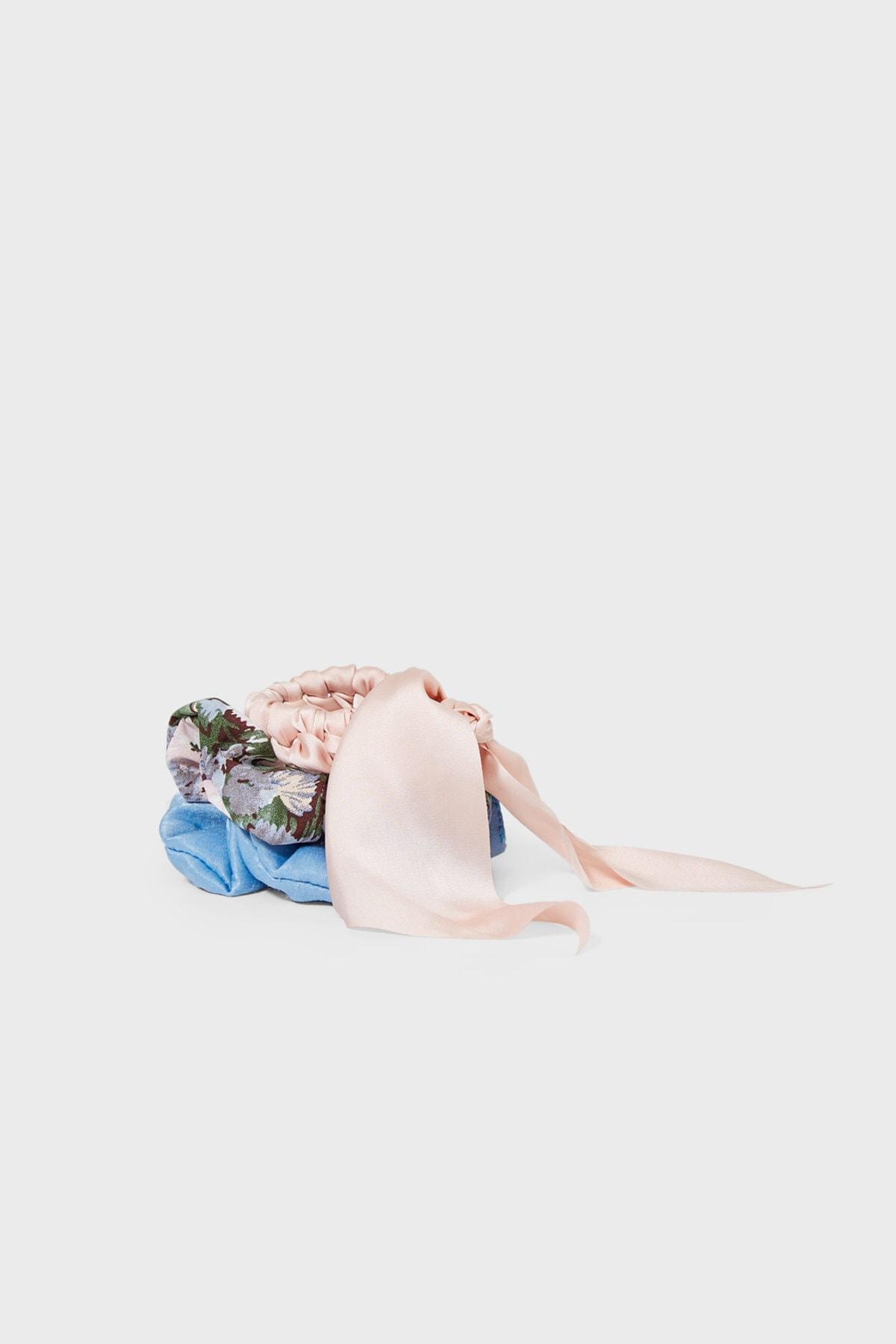 Stradivarius Kadın Açık Mavi 3'Lü Çiçek Desenli Saç Lastiği Paketi 00239009 2