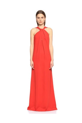Lanvin Kırmızı Uzun Gece Elbisesi