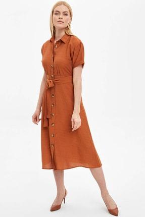 DeFacto Kadın Bordo Düğme Detaylı Kemerli Dokuma Elbise N0543AZ.20SM.BR201