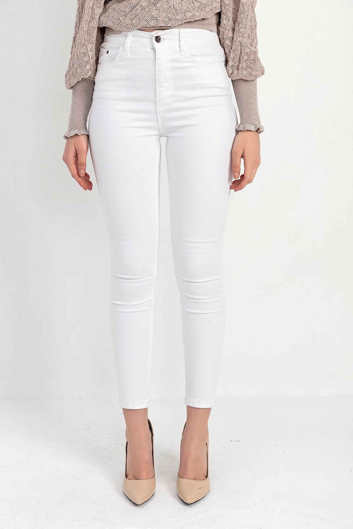 TIFFANY&TOMATO Kadın Beyaz Gabardin Dar Paca Pantolon Y20036_PNT_891D_T_D1 2