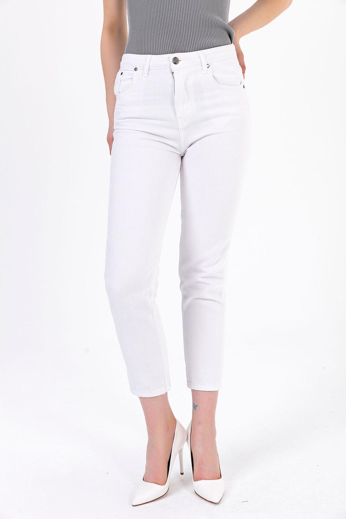 TIFFANY&TOMATO Kadın Beyaz Mom Jeans Pantolon A0055Y833T 2