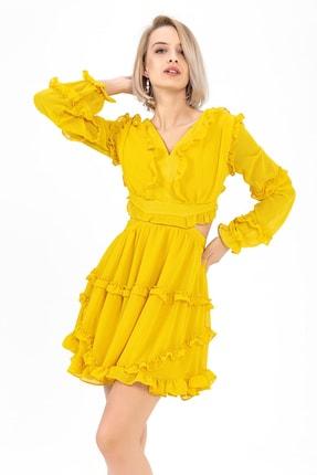 TIFFANY&TOMATO Kadın Sarı Sırtı Çapraz Şifon Abiye Elbise Y20015_ELB_891D_T_D1