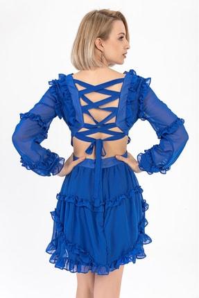 TIFFANY&TOMATO Kadın Saks Sırtı Çapraz Şifon Abiye Elbise Y20015_ELB_891D_T_D1