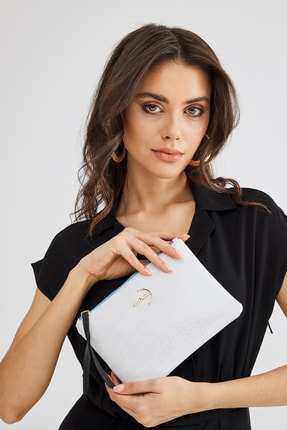 Deri Company Soft Kroko Beyaz Clutch El Çantası