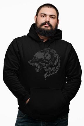 Angemiel Wear Wolf Siyah Erkek Kapüşonlu Sweatshirt