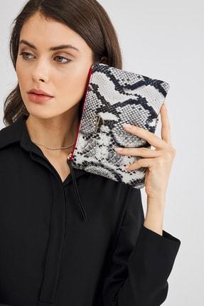 Deri Company Soft Kroko Zebra Clutch El Çantası