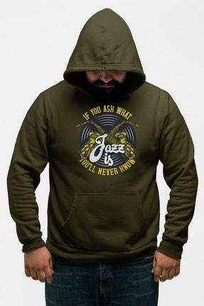 Angemiel Wear Jazz Ve Saksafon Yeşil Erkek Kapüşonlu Sweatshirt