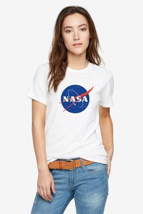 Collage Nasa Logo Simge Baskılı Beyaz Kadın Tshirt T-shirt Tişört T Shirt
