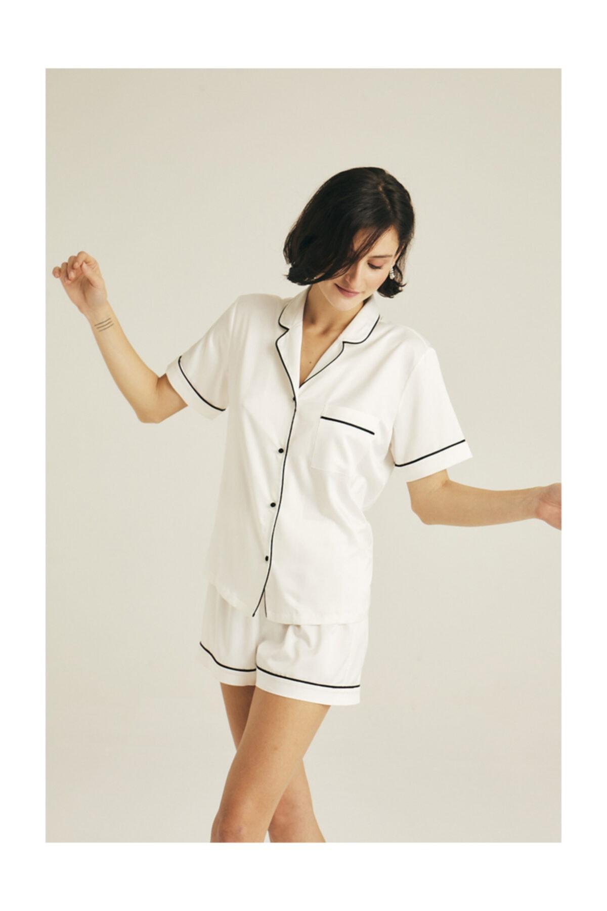 House of Silk Yumuşak Saten Biye Detaylı Şort Pijama Takımı 2