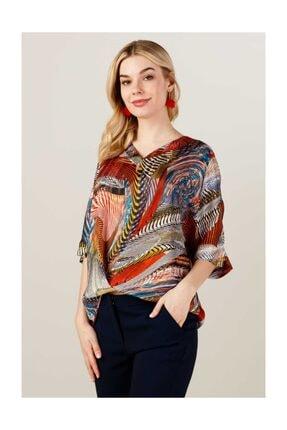 Ekol Kadın Desenli Şifon Bluz