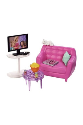 Barbie Ev Içi Aksesuarları Televizyon Koltuk Tv Sehpa Set