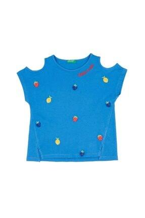 United Colors of Benetton Meyve Işlemeli Açık Omuzlu Tshirt