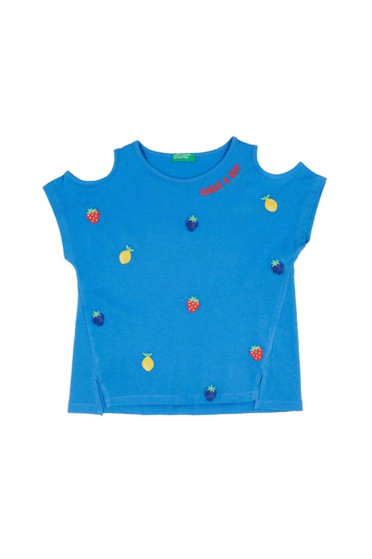 United Colors of Benetton Meyve Işlemeli Açık Omuzlu Tshirt 1