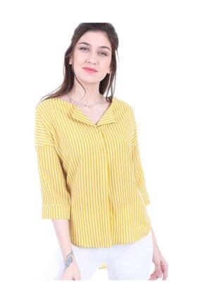 Bigdart Kadın Hardal Top Düğmeli Bluz 0355bgd9_010