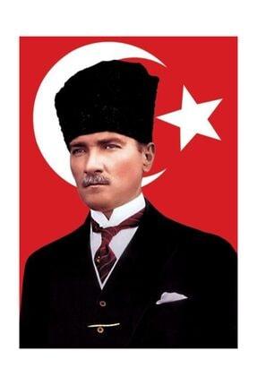 bayrakal Kalpaklı Atatürk ve Türk Bayrağı 50x75cm.