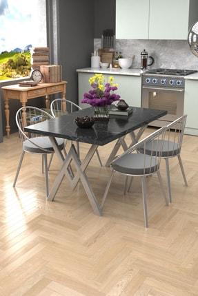 Evdemo Eylül Silver 4 Kişilik Mutfak Masası Takımı Mermer Gri