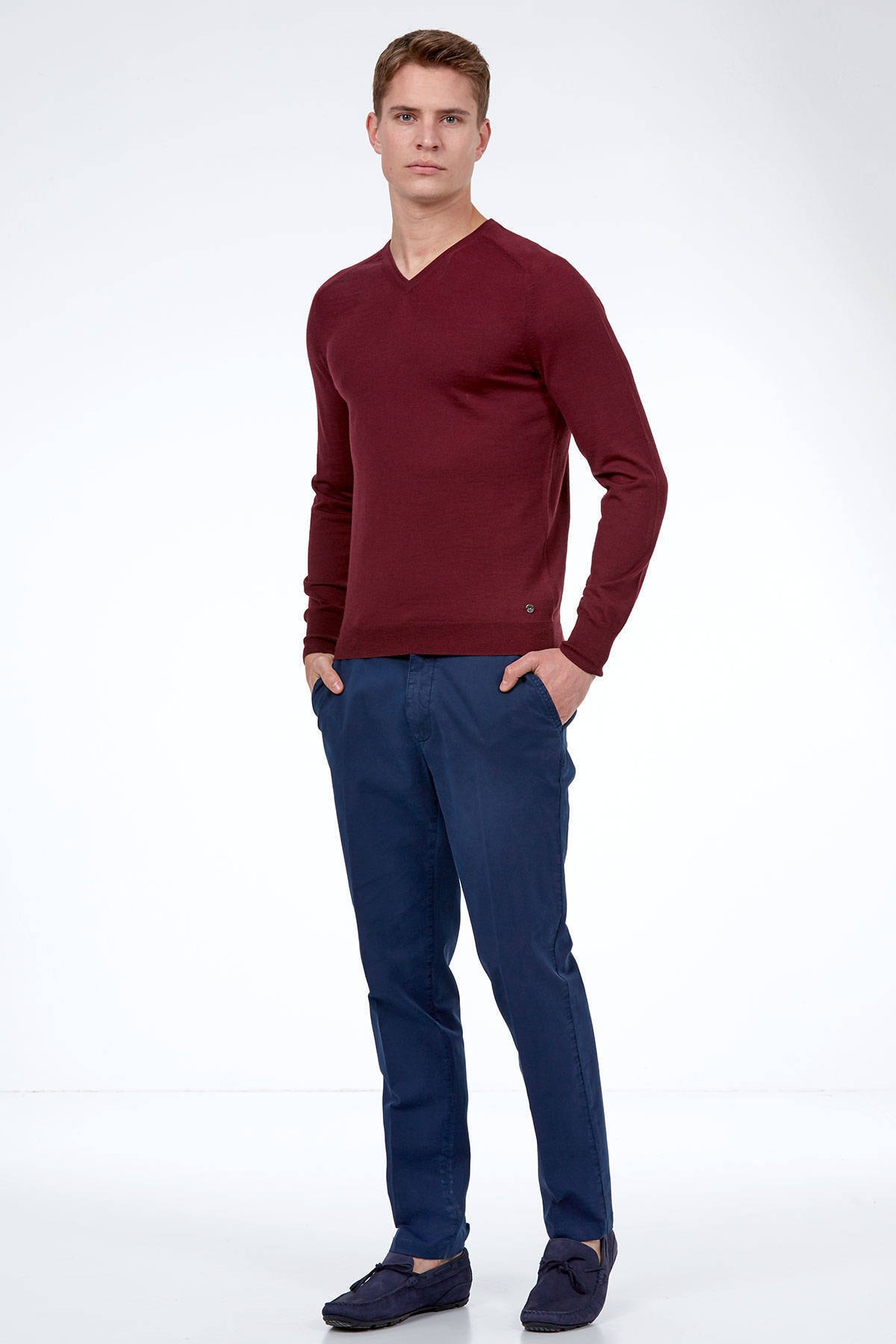 Hemington Bordo V Yaka Slim Fit Merino Yün Triko 2