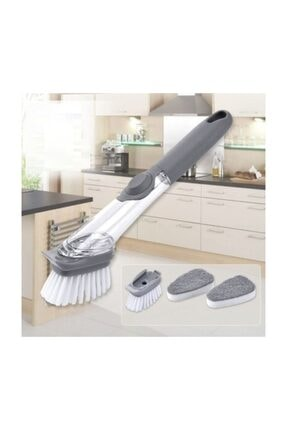 EvimShopping Deterjan Hazneli 3 Başlıklı Bulaşık Fırçası