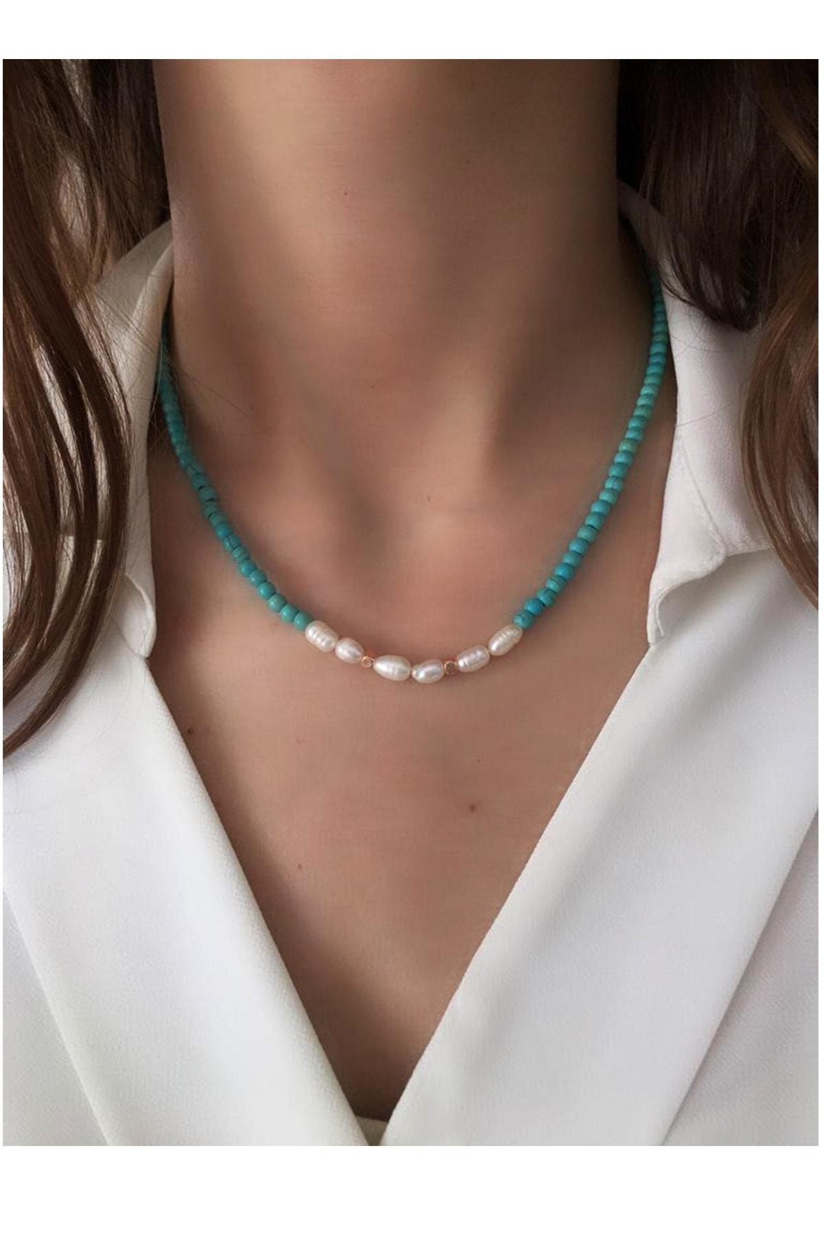 Serpil Jewellery Kadın Rose Rengi Firuze Ve Gerçek Inci Doğaltaşlı Kolye 1