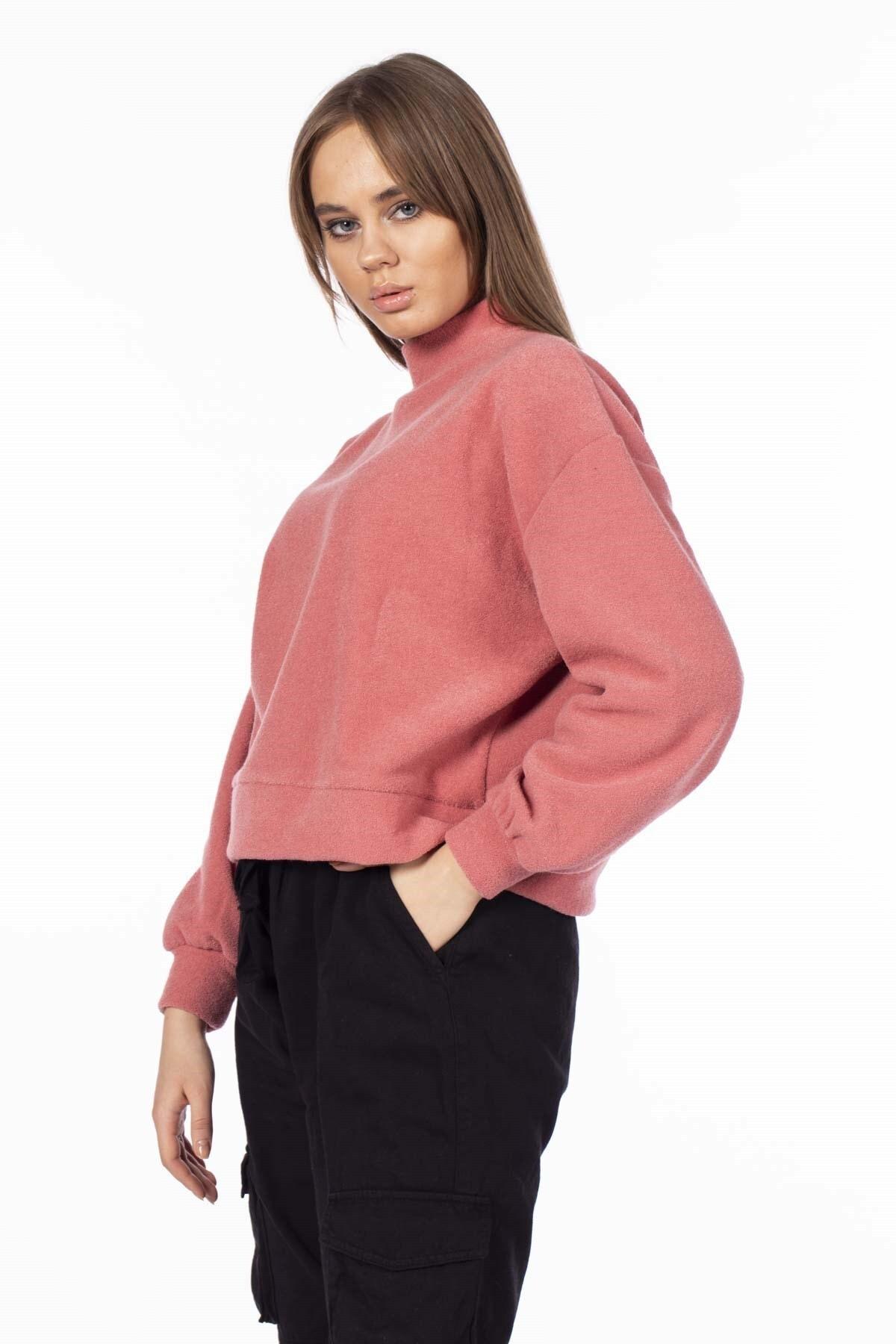 BARRELS AND OIL Kadın Pudra Yarım Balıkçı Polar Sweatshirt 729-19K016.35