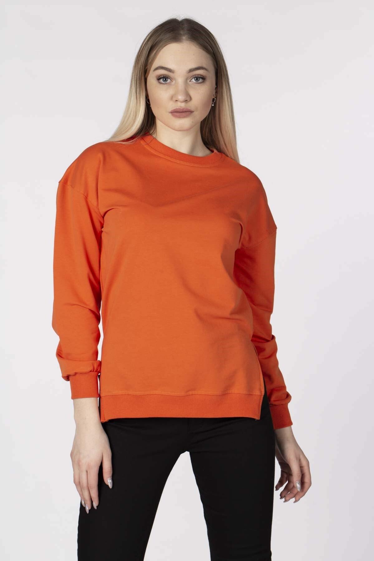 BARRELS AND OIL Kadın Oranj Basic Sweatshirt 843-19K014.80