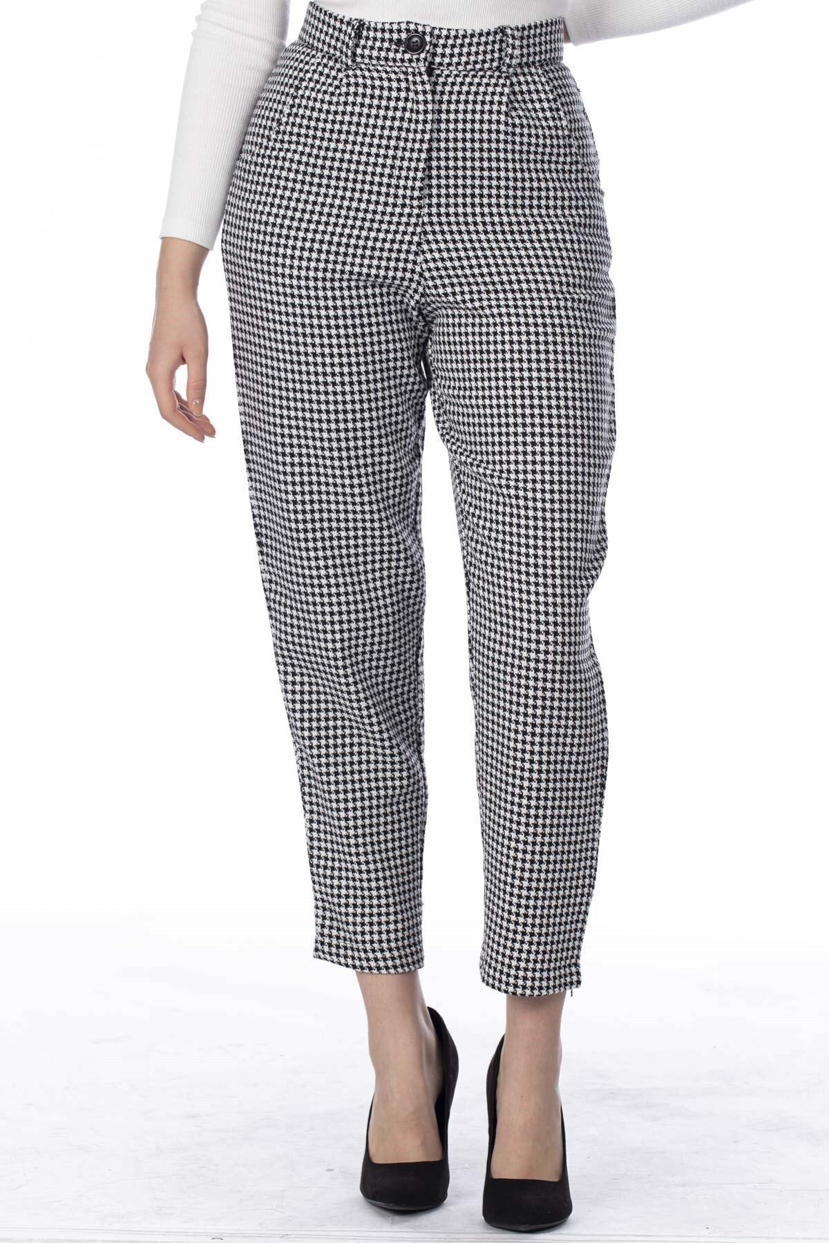 BARRELS AND OIL Kadın Siyah/Beyaz Kazayağı Desenli Pantolon 818-19K04002.91 1