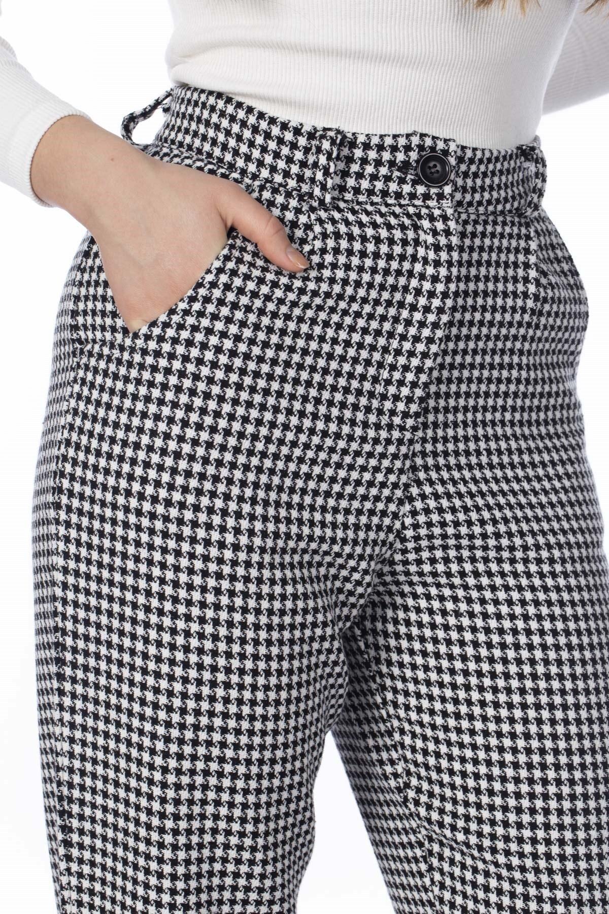 BARRELS AND OIL Kadın Siyah/Beyaz Kazayağı Desenli Pantolon 818-19K04002.91 2