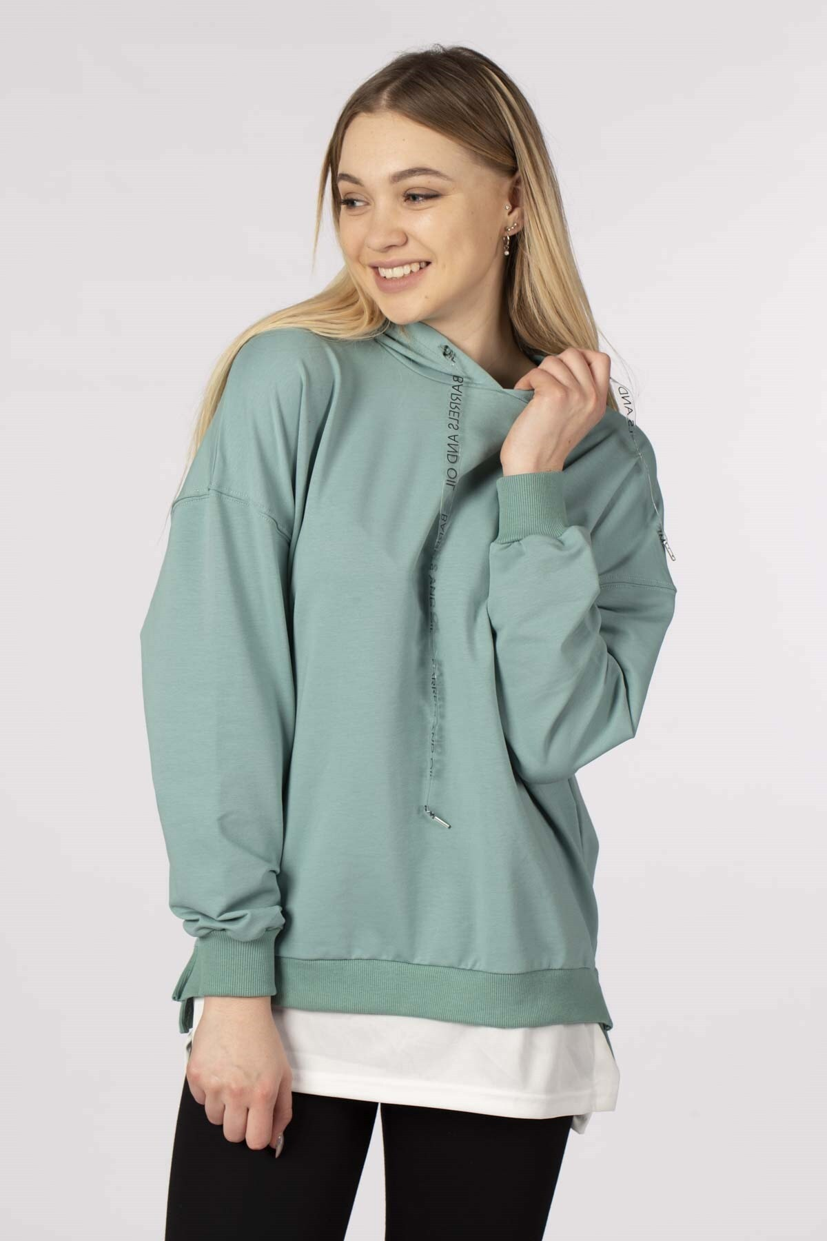 BARRELS AND OIL Kadın Mint Eteği Penyeli Kapüşonlu Sweatshirt 843-19K016.77
