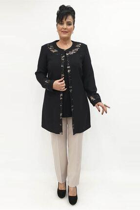 MİRAGGİO BÜYÜK BEDEN Abiye Ceket Takım 92727 Siyah