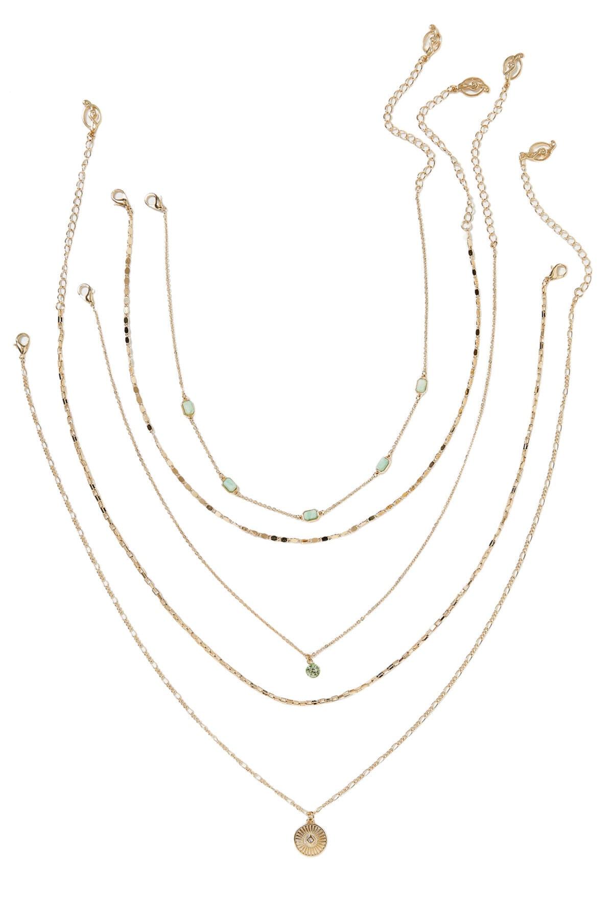Stradivarius Kadın Sarı 5'Li Madalyon Kolye Seti 00282004 1