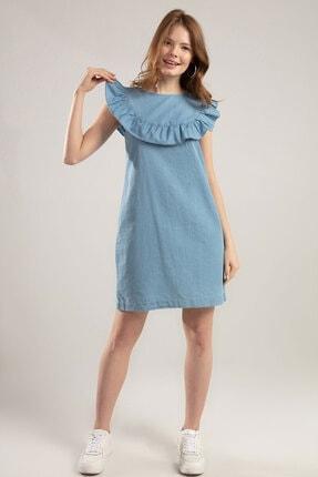 Y-London Kadın Denim Fırfırlı Sırtı Pencere Detaylı Sıfır Kol Elbise Y20S110-1933