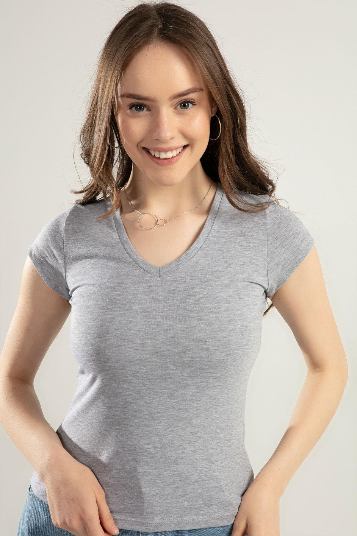 Pattaya Kadın V Yaka Basic Tişört Y20s126-10536 2