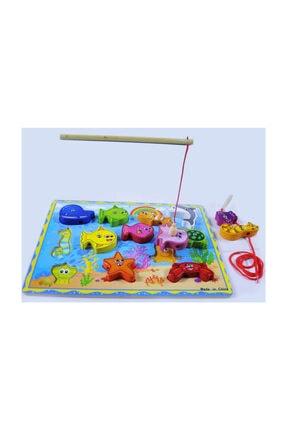 Wooden Toys 15 Parça Manyetik Balık Tutma Oyunu + Ipe Dizme Oyunu Ikisi 1 Arada Set