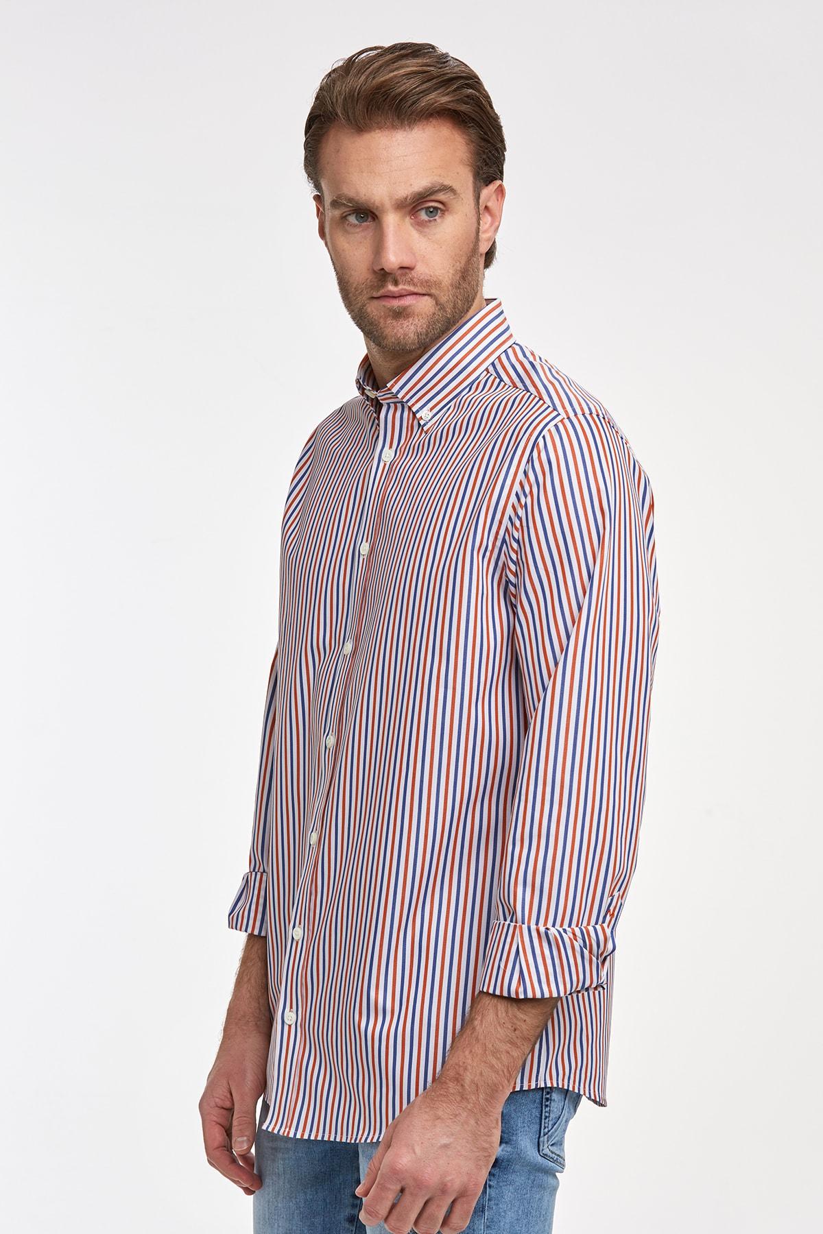 Hemington Kırmızı Mavi Çizgili Pamuk Spor Gömlek 1