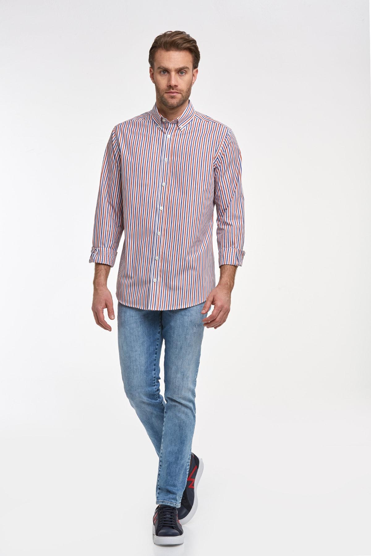 Hemington Kırmızı Mavi Çizgili Pamuk Spor Gömlek 2