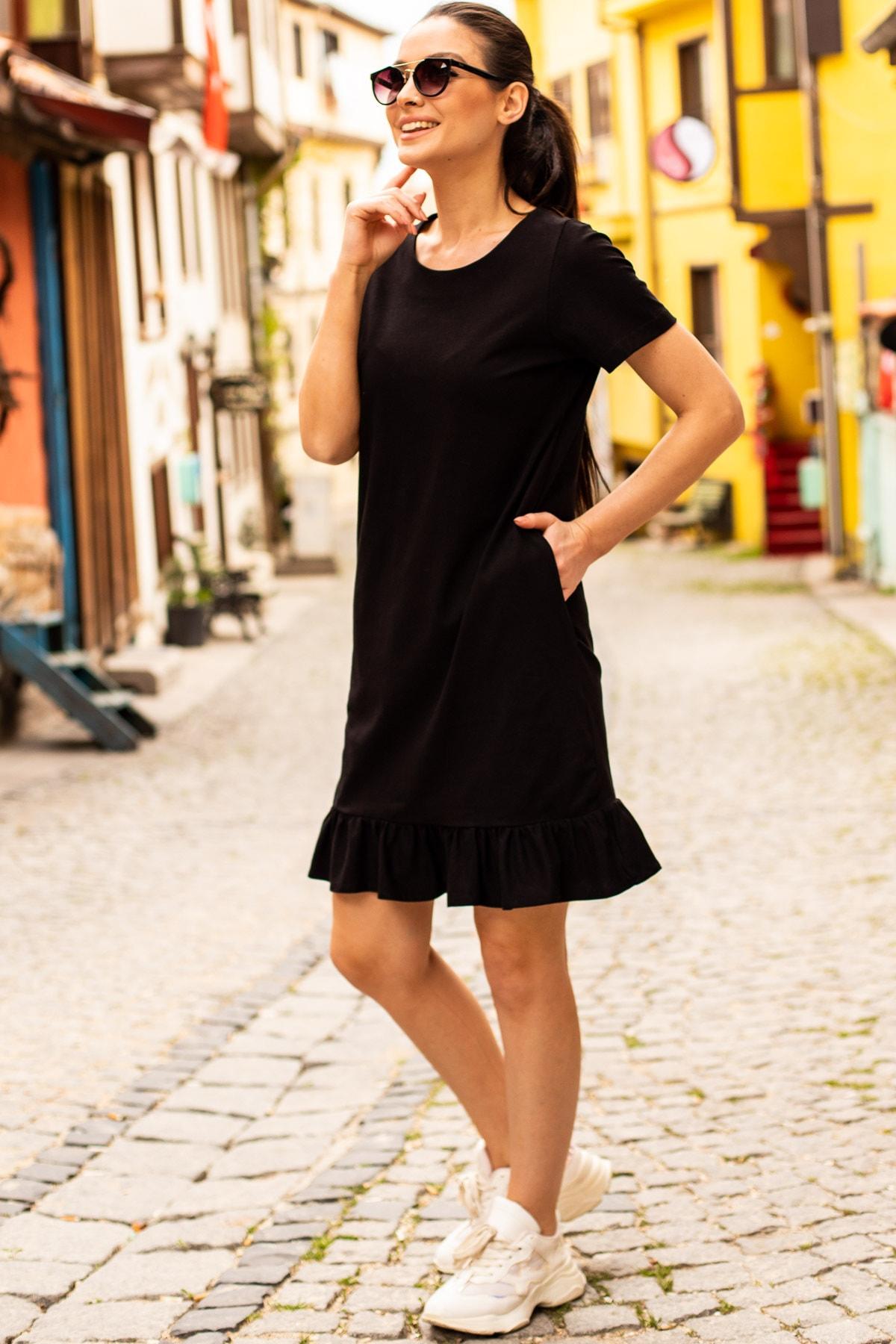 armonika Kadın Siyah Kısa Kollu Altı Fırfırlı Elbise ARM-20Y001032 1