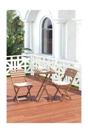 Meya Dekor Minder Hediyeli Balkon - Bahçe - Mutfak 3'lü Bistro Set Katlanır 2 Sandalye 1 Masa