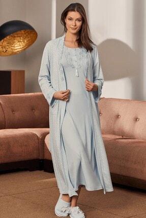 Mecit Pijama 10126 4 Parça Lohusa Set -mavi